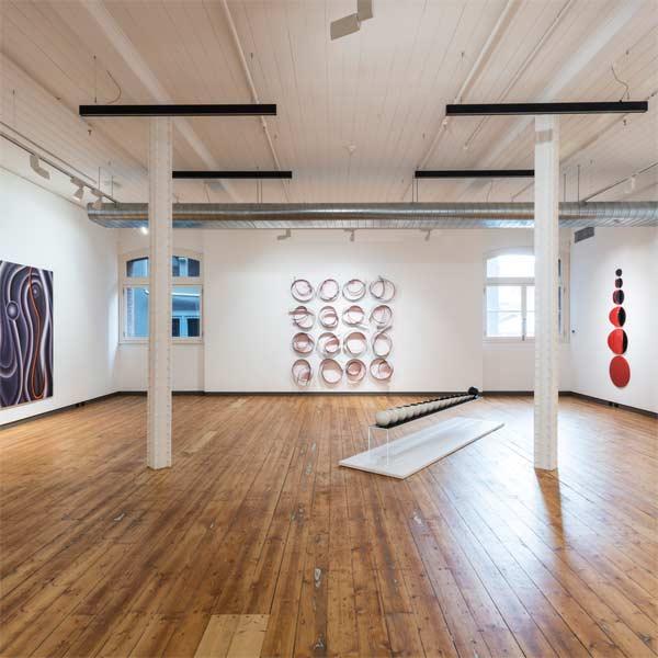 Gallery art installation by Tom Ellis of Ellis Art Installation. Image of Marion Borgelt exhibition at Karen Woodbury Gallery.